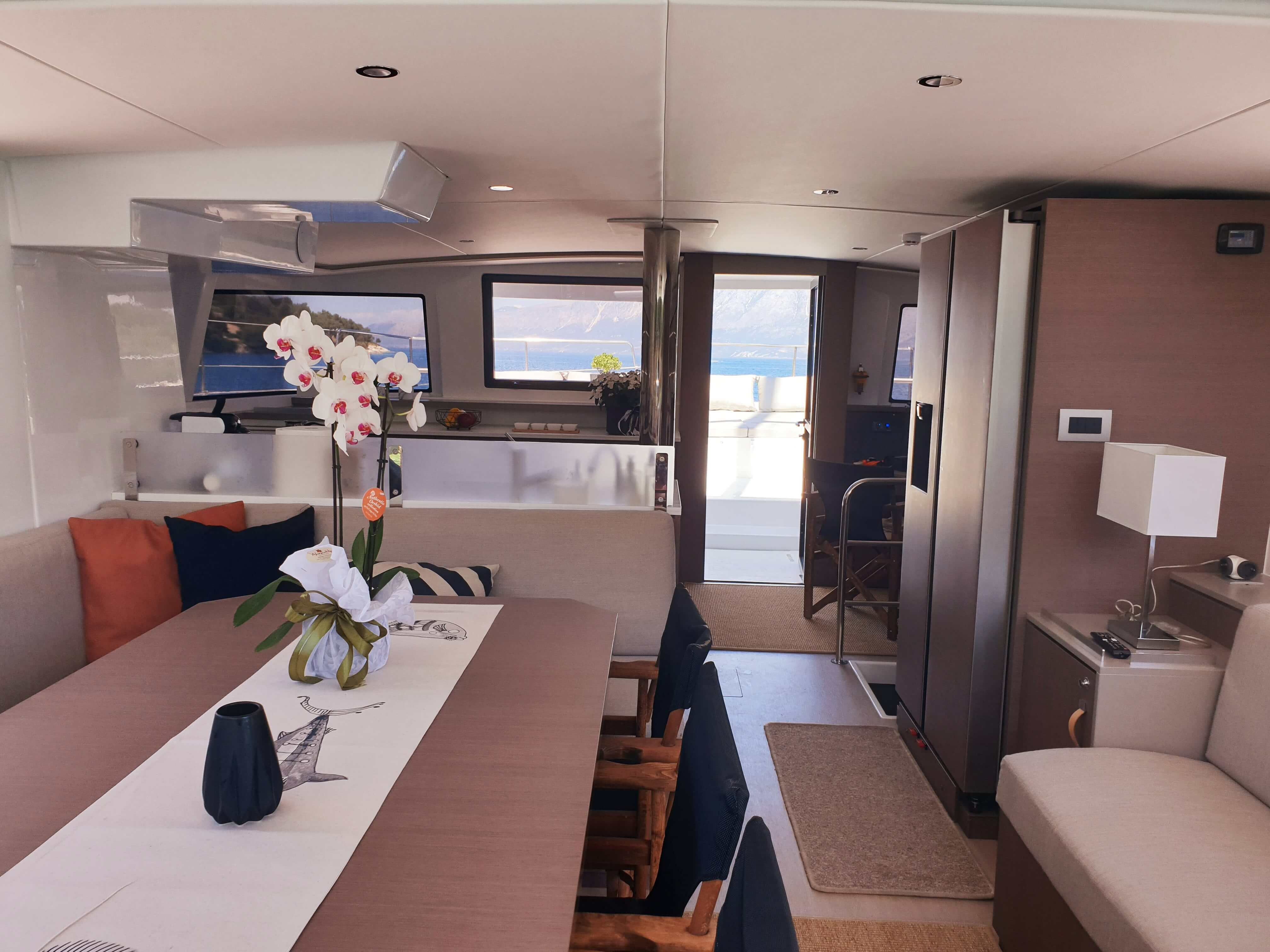 yacht dining table inside